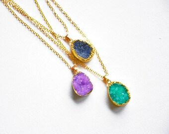 Black Druzy pendant, Geode necklace, Druzy jewelry, Raw amethyst, Boho necklace, Crystal pendant, Gemstone jewelry, Raw stone, Wiccan