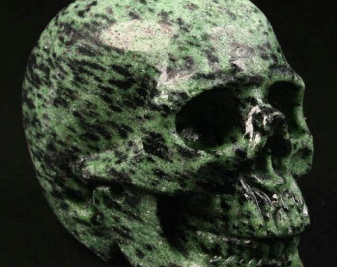 Ruby Zoisite Carved Skull  #109