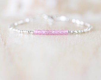 Pink Zircon, Sterling & Fine Silver Bracelet. Dainty Karen Hill Tribe Bracelet. Beaded Gemstone Stacking Bracelet. Delicate, Thin, Bracelet