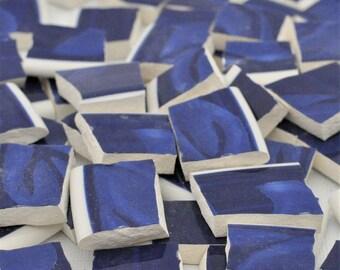 75 Broken China Mosaic Tile -Recycled Plates -  Cobalt Blue  - White Trim
