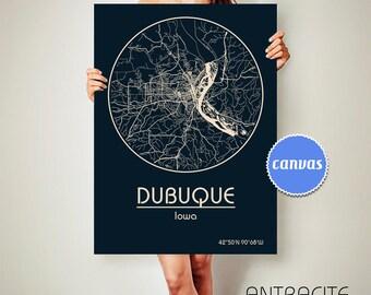 DUBUQUE Iowa CANVAS Map Dubuque Iowa Poster City Map Dubuque Iowa Art Print Dubuque Iowa