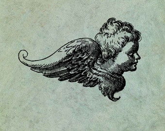 Winged Angel Cherub Side View LARGE - Antique Style Clear Stamp