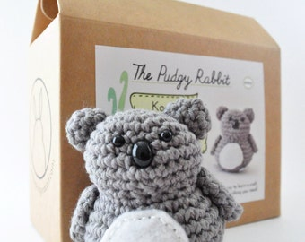 Koala Crochet Kit, DIY Amigurumi Kit, Learn to Crochet, DIY Craft