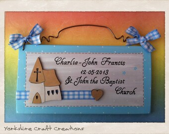 Christening Day Record Plaque Keepsake Gift Personalised with Name Date & Church for a Boys or Girls