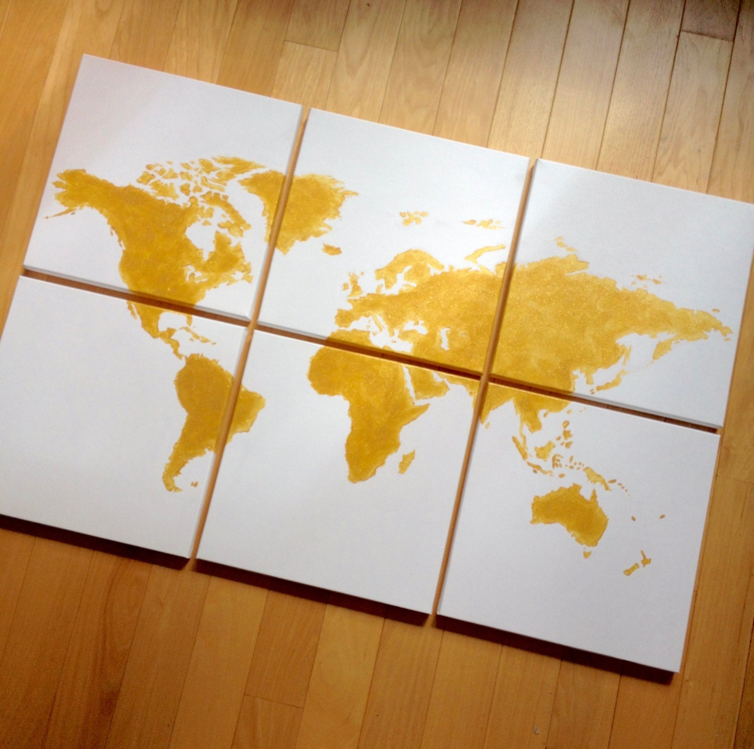 gold world map canvas. 6 12x12\'s custom colors hand