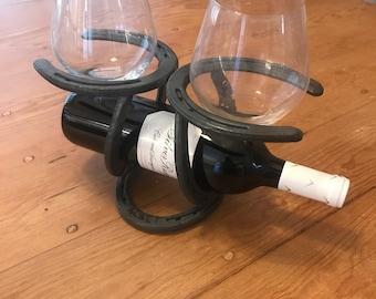 Horseshoe wine bottle centerpiece rack holder