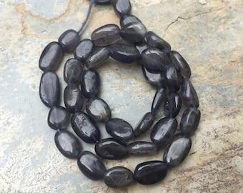 Iolite ovale Perlen, Iolith, Edelstein Oval Perlen, 8 bis 10mm, 13 Zoll-Strang