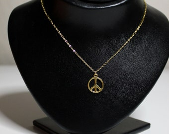 Gold PEACE Necklace, Hippie, Hipster, Gypsy, Bohemian,Boho Beach Style, Prom, Party Festival Jewelry