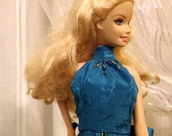 Blue satin dress with glossy/matte flowers and silver beads for Fashion royalty FR2 and dolls of similar body size.