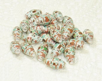 Paper Beads, Loose Handmade Jewelry Supplies Jewelry Making Barrel Stripes Aqua Brown