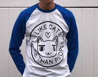 Blue Cat baseball tee - I like cats - baseball tee - cat baseball tee - raglan tee - cat tee - cat t shirt - long sleeve t shirt - cat tee