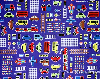 Japanese Fabric ~ Kokka Fabric ~ Cars Rockets Fabric ~ Blue Fabric ~ Printed Cotton Oxford ~ Boys Fabric ~ Quilt Fabric ~ Apparel Fabric