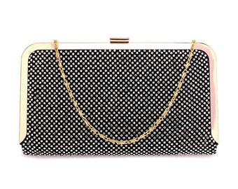 Black Crystal Beaded  Evening Clutch Bag Wedding Clutch Box Evening Party Bag