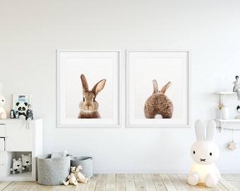 Bunny Butt, Rabbit Print, Woodland Animals Set of 2, Baby Animal Prints, Bunny Tail, Nursery Decor, Woodland Animal, Kids Room Printable Art
