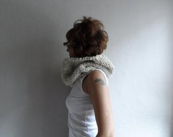 Chunky Knit Cowl Neckwarmer Hood, Chunky Scarf, Cream Beige