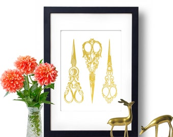 Scissors Art, Gold Foil Print, Antique Scissors, Home Decor, Craft Room Sewing Ideas, Gift For Her