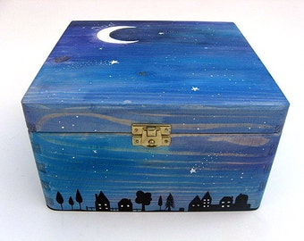 XLarge  memorial box, Personalised sympathy gift. Hand-painted memorial keepsake box. Starry night design.
