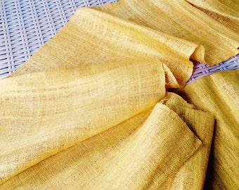 Hmong Handmade Organic Hemp Mustard Yellow Ethnic Fabric Hilltribe Folk textile craft supplies