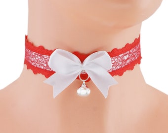 Red kitten play collar ddlg collar white princess collar day collar kawaii collar kitten play choker kittenplay petplay collar daddy lace 8