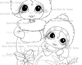 INSTANT DOWNLOAD Digital Digi Stamps Big Eye Big Head Dolls Digi Winter Wonderland imgA2 By Sherri Baldy
