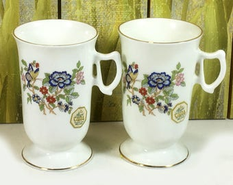 "Vintage Royal Tara ""Harmony"" Irish Coffee Mug, White with Pretty Floral and Butterfly Pattern, Harp Handle"