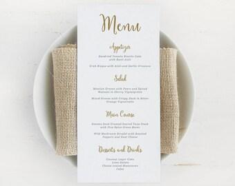 Printable Wedding Menu Template, Rustic Wedding Menu, Calligraphy Wedding Menu, Printable Menu | Edit in Word or Pages