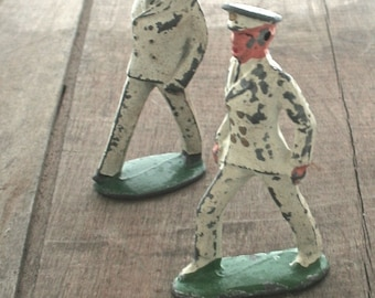 Antique Vintage Lead Toy Barclay Naval Officer Figurine B-055 - Chippy 1940s Rustic