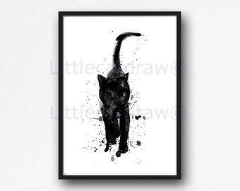 Cat Print Black Cat Walking Watercolor Painting Print Cat Lover Gift Cat Wall Decor Wall Art Bedroom Wall Decor Cat Painting Unframed