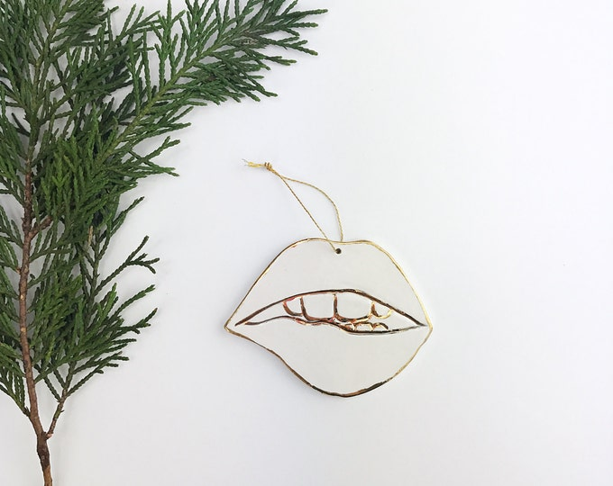 Mouth Ornament White And 22k Gold Minimal Holiday Lips Ornament Christmas Gift Keepsake Decor Porcelain Pottery Made To Order