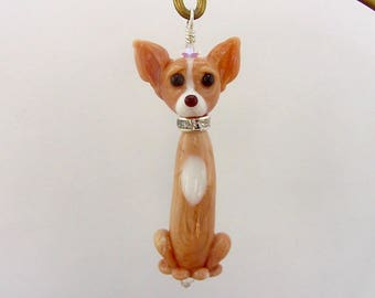 Chihuahua Lampwork Dog  - Handcrafted Glass Creation - SRA