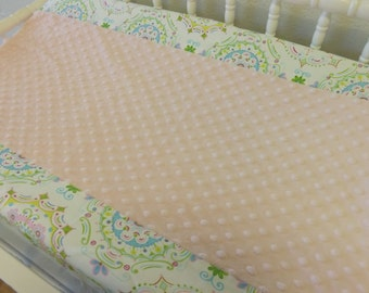 Changing Pad Cover- READY TO SHIP --Tea Garden Changing Pad Cover with Minky Center-