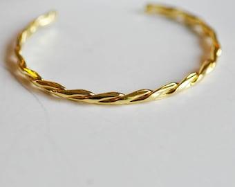 1 Bangle braided open circle diameter 50mm 14K Gold brass