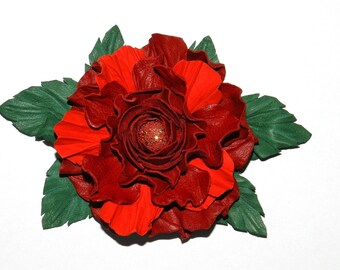 Leather brooch! Leather roses, handmade 100% leather flower - red! Nice gift for her!