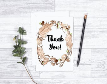 """Thank you Wreath - Note Cards - Gifts - 4""""x6"""" - Individual -Fall Wreath - Nature Greeting Cards - Acorns - Fall Leaves - Thank You Card"""