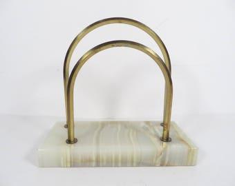 Vintage Brass Alabaster Letter Rack Holder - Brass Alabaster Desk Envelope Rack