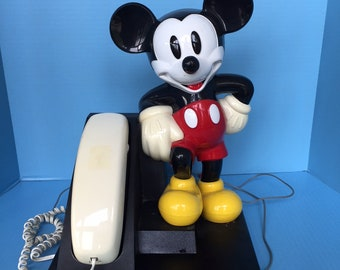Mickey Mouse push button phone with rare white handset