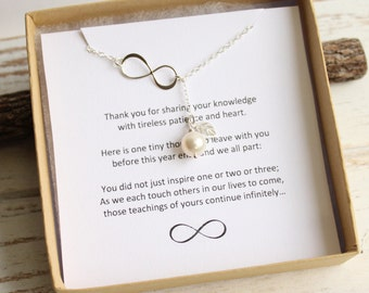 Sterling Silver Forever Inspiring Infinity Pearl Lariat Necklace... Teacher Appreciation Sentiment Card
