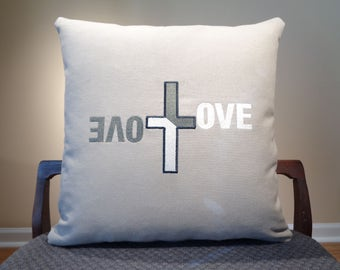 Love Pillows, Decorative Pillows, White Love Pillows, White on Grey Pillow, White Calligraphy Pillows, Christmas Gift, Holiday Pillows