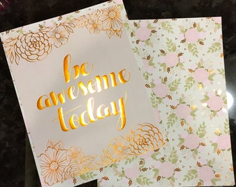 Copper Foil Cover, Be Awesome Today,quote,Planner, planner Cover,inspiration print,Framable,use with Erin Condren Planner(TM),Happy Planner