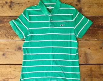 Nike The Athletic Department green and white stripe polo shirt
