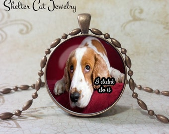 "Beagle Necklace - I Didn't Do It - 1-1/4"" Circle Pendant or Key Ring - Handcrafted Dog Wearable Photo Art Jewelry - Gift for Beagle Person"