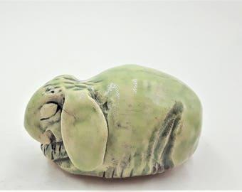 Little pale green lop ear rabbit - porcelain hand sculpt