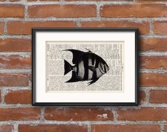 Print no. fish. 2 - antique book page - landscape