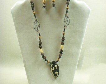 Wooden, Lava, and Horn Necklace