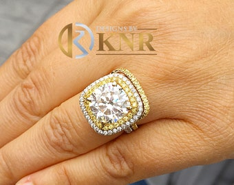 Huge Women's 14k solid white gold cushion cut forever one moissanite and natural diamond engagement ring and Band Bridal Wedding Halo 6.80ct