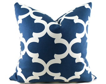 Pillow Covers ANY SIZE Decorative Pillow Cover Blue Pillow Premier Prints Fynn Navy