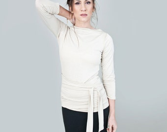 Wrap Top | Womens Boatneck Shirt | Minimalist Clothing | Minimalist | Quarter Sleeve | Ethically made in our USA loft | L415 & Co (#415-820)