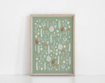 Scandinavian Botanical Print, Fall Print, Scandinavian autumn Print, Botanical Nursery Art, Autumn leaves Print, Scandinavian Art