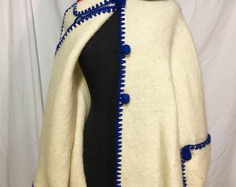 Amazing Handmade 1960s Bohemian Cape, hippie Poncho. Made in Greece, ivory wool w has bold royal blue bohemian trim! Size free