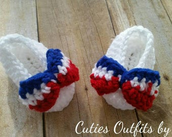 Baby Girl Shoes, crochet shoes, girl shoes, Newborn shoes, girls' shoes, Baby Girl Shoes, 4th of July, Patriotic Shoes, Zapatos de Bebe